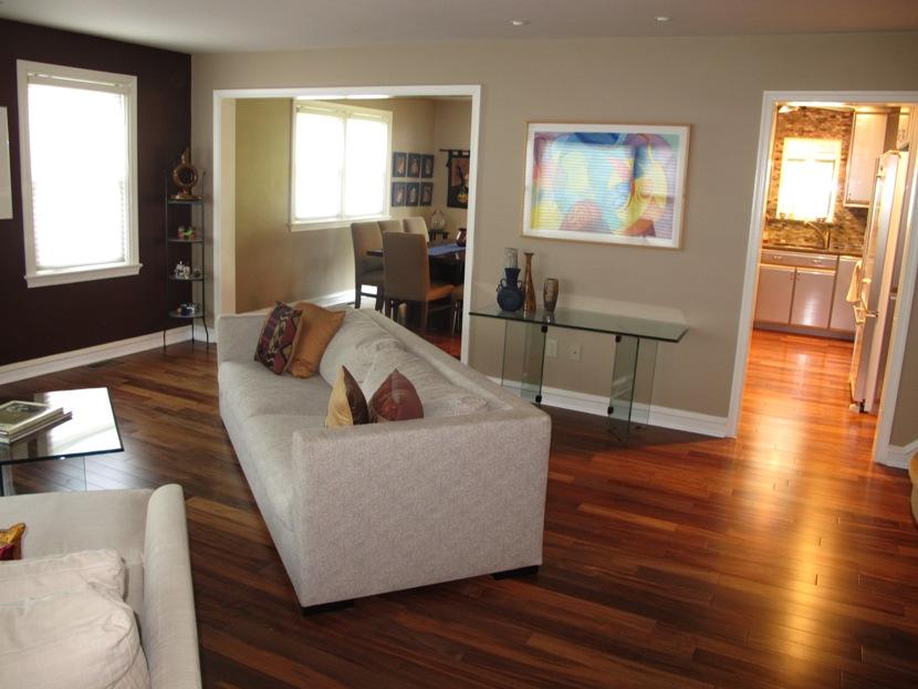 Living Room With Beautiful Hardwood Flooring