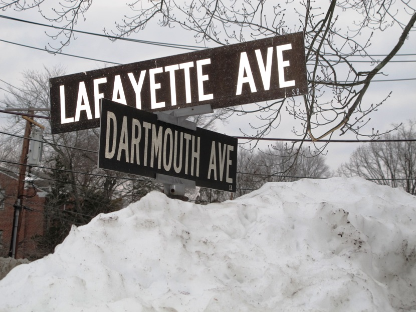 The Snow Was Piled High In Swarthmore Borough Parking Lot After The January 23 Snowstorm